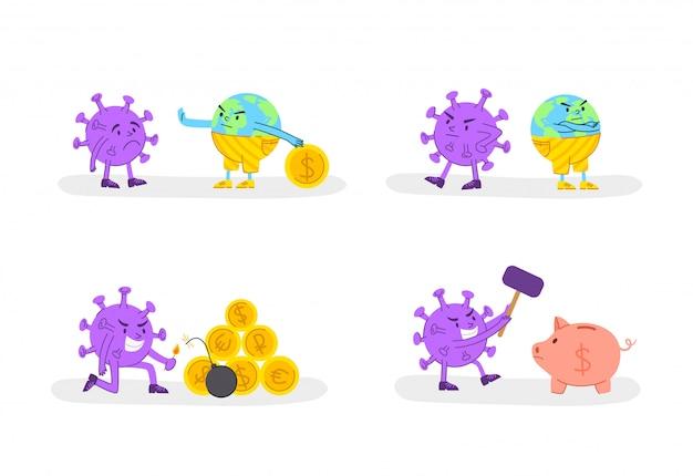 Концепция экономического кризиса coronavirus covid-19 - злой вирус и золотые монеты или деньги и грустная планета земля, глобальная финансовая ситуация