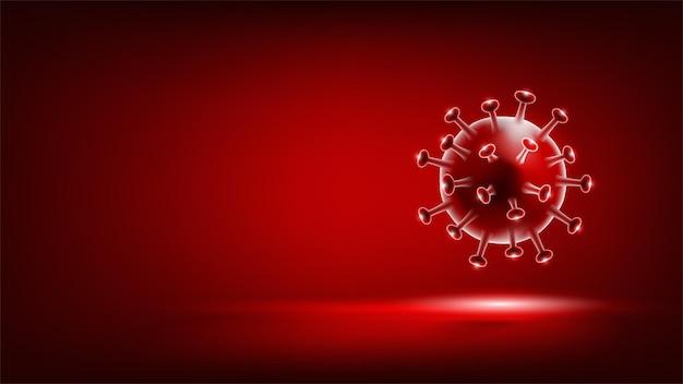 빨간색 배경에 코로나바이러스 covid19 델타 변종 b16172 돌연변이 바이러스 세포 의료