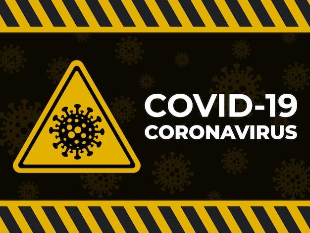 Coronavirus предупреждение желтый знак covid19 фон.