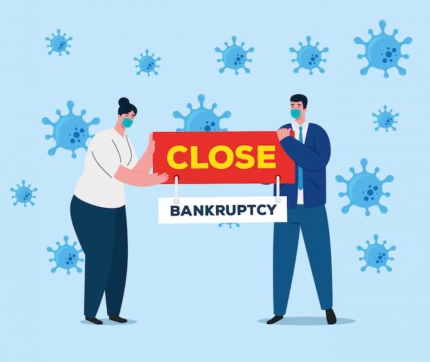 Коронавирусная катастрофа, крах экономики, бизнес пара, носящая медицинскую маску, концепция банкротства Premium векторы