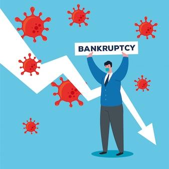 Коронавирусная катастрофа, крах экономики, грустный бизнесмен, носящий хирургическую маску, концепция банкротства