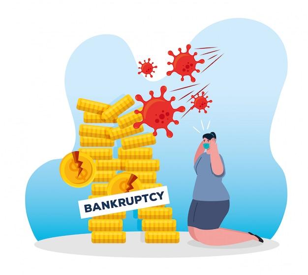 Коронавирусная катастрофа, крах экономики, женщина в хирургической маске с кучей монет, концепция банкротства