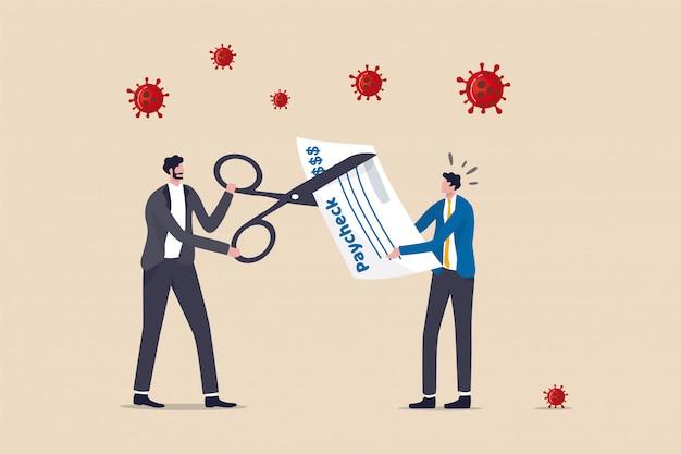 코로나 바이러스 위기로 인해 회사는 직원 급여를 삭감하고 비용을 줄이기 위해 급여를 삭감하여 회사, covid-19 붕괴에서 생존하기위한 사업, 가위를 사용하여 직원 급여 확인 급여를 삭감하는 보스 비즈니스 소유자를 만듭니다.