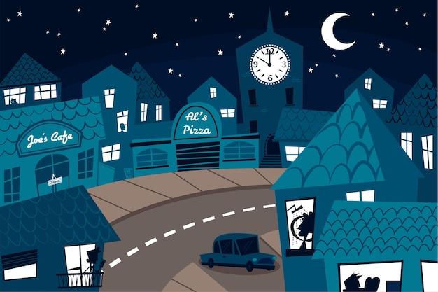 Комендантский час коронавируса ночью иллюстрация