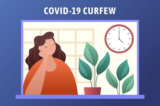 Иллюстрированная концепция комендантского часа из-за коронавируса