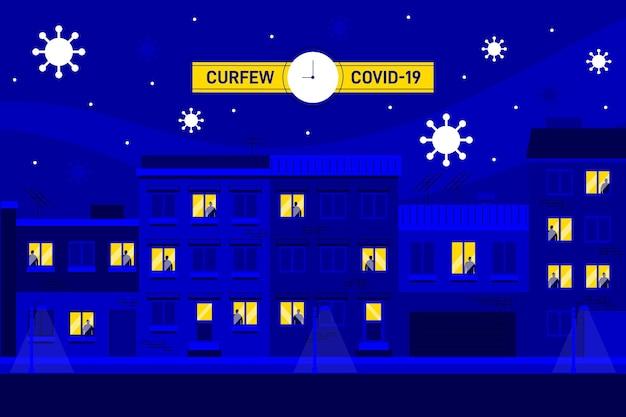 Illustrazione di concetto di coprifuoco di coronavirus