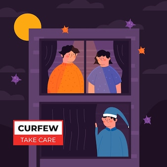 Coronavirus curfew concept illustration