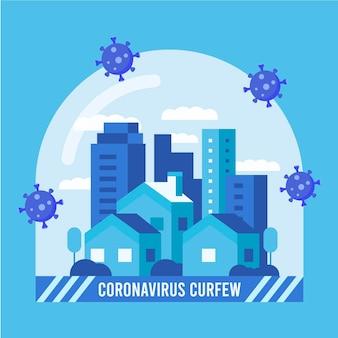 Coronavirus concetto di coprifuoco