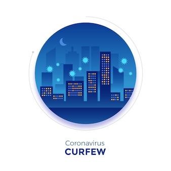 Иллюстрированный комендантский час из-за коронавируса в городе