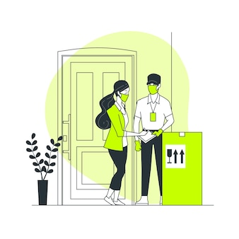 Иллюстрация концепции предотвращения доставки коронавируса