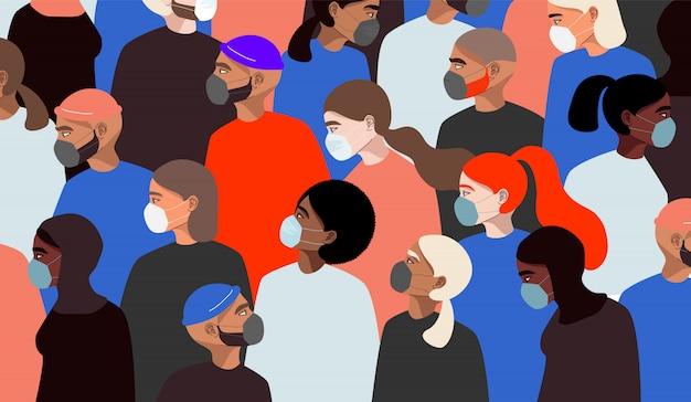 Коронавирус. разные люди носят медицинские маски. всемирная концепция карантина. красочный женский персонаж. рука нарисованные мужчины и женщины стоя. модный веб и приложение иллюстрации.