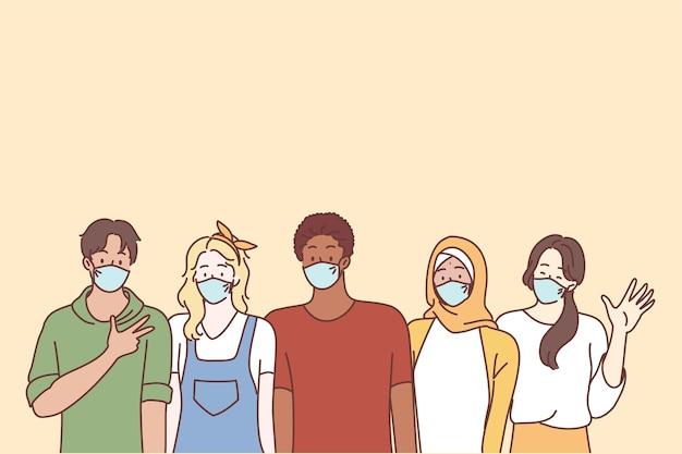 코로나 바이러스 질병 및 다중 민족적인 청소년 친구 개념.