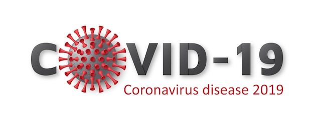 Coronavirus disease background. typography  logo for poster, banner, flyer. realistic  virus cell.  illustration.