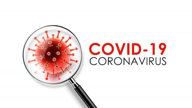 コロナウイルス病covid-19感染症covid-19コロナウイルスという言葉に虫眼鏡を使って医療。 covid-19、コロナウイルススクリーニングコンセプト、ベクターというコロナウイルス病の新しい正式名称