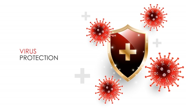 Coronavirus disease covid-19 infection medical with shield. officially name for coronavirus disease named covid-19, coronavirus immune protection concept