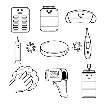 Coronavirus doodle set