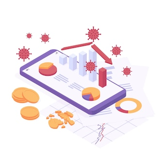 Coronavirus economic crisis isometric vector illustration