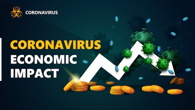 コロナウイルスの経済的影響、白い矢印のバナー、コロナウイルス分子の周りに金のコインが囲まれている経済グラフ