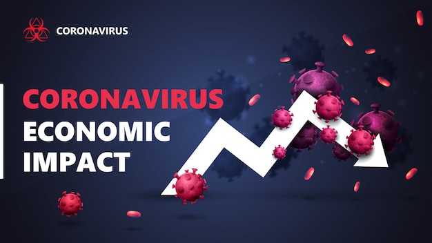 Coronavirus economic impact, black and blue banner with white arrow an economic graph surrounded by coronavirus molecules.
