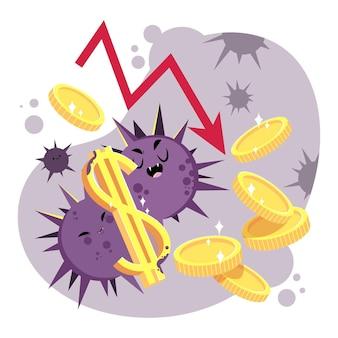Concetto di impatto sull'economia del coronavirus