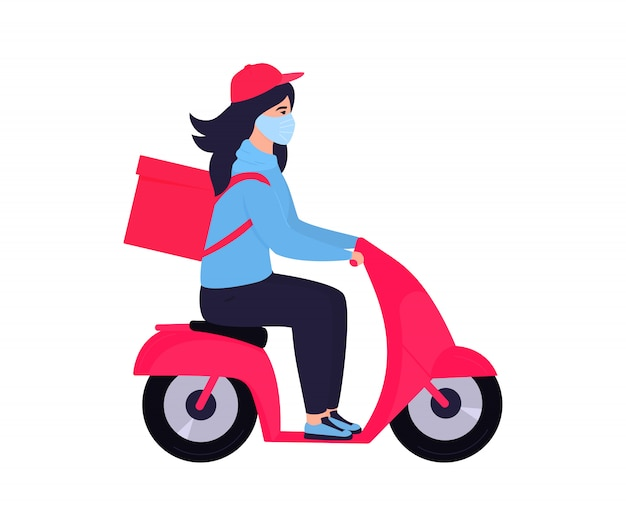 Coronavirus epidemic. delivery girl in a protective mask carries food on a motorbike.