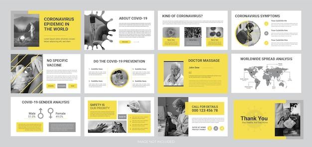 コロナウイルスの流行のプレゼンテーションスライドテンプレート