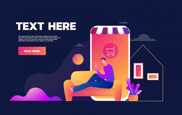Coronavirus epidemic quarantine.young man shop online.consumerism on smartphone mobile app. buy at home. survive covid 19. flat   illustration Premium Vector