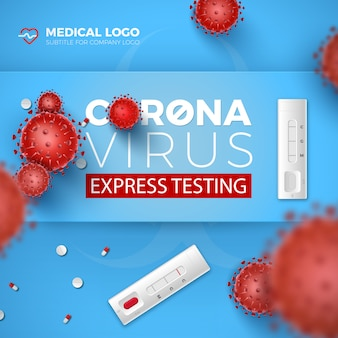 コロナウイルスエクスプレステストカード。 covid-19ラピッドテストと青の背景に3 d赤いウイルス細胞。コロナウイルス病2019、血液検査のイラストデザイン。