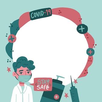 Coronavirus facebook frame for profile picture Free Vector