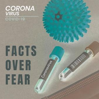Факты о коронавирусе над страхом, социальный баннер шаблон вектор