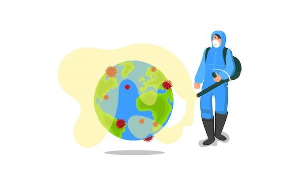 Коронавирусная борьба. специалист по защитному костюму распыляет специальный инструмент на планете для уничтожения опасного коронавируса. очистка, дезинфекция для предотвращения ковид-19 по всему миру.