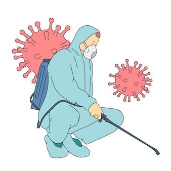 コロナウイルス、戦い、感染、保護の概念。ウイルス防護服とマスク消毒の男