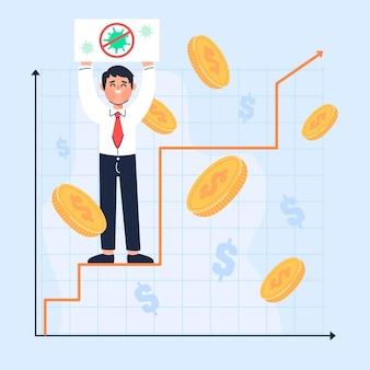 Coronavirus financial recovery concept