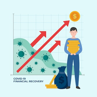 Coronavirus financial recovery graph with man