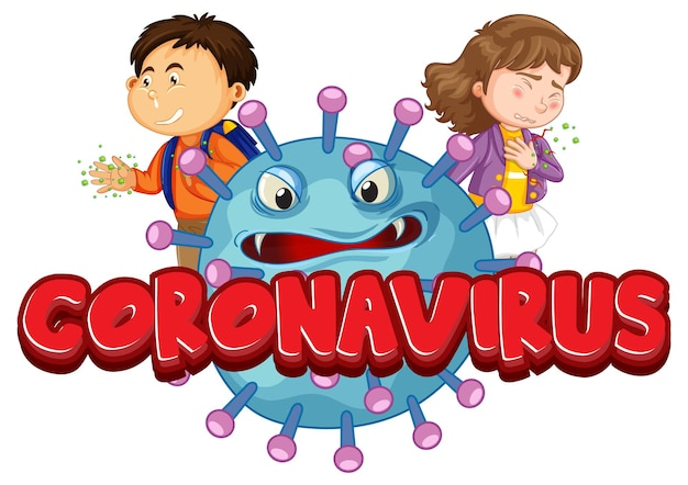 Дизайн шрифта коронавируса со значком covid19 и детским мультипликационным персонажем на белом фоне