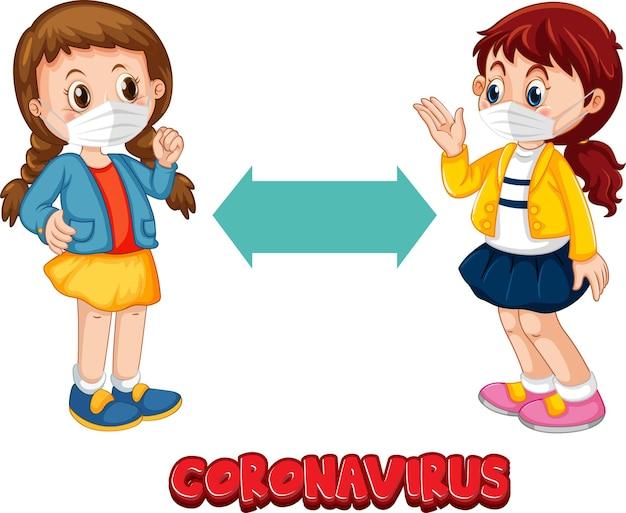 白で隔離された社会的距離を保つ2人の子供と漫画スタイルのコロナウイルスフォント