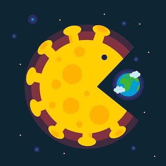 コロナウイルスの世界への影響巨大なコロナウイルス細胞が地球を飲み込む