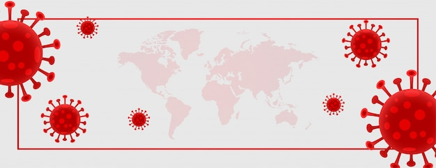 Coronavirus global spread banner with text space