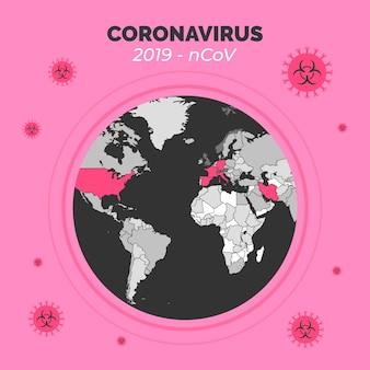 コロナウイルスの世界のコンセプト