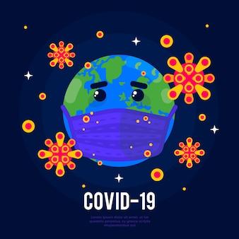 Coronavirus globe illustration