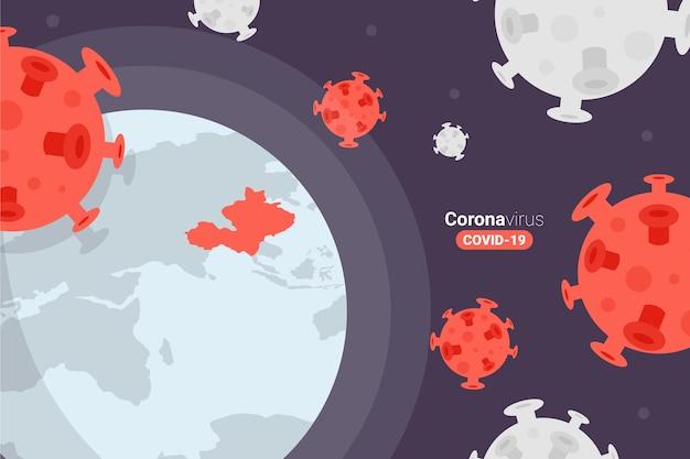 Coronavirus globe transmission of the virus