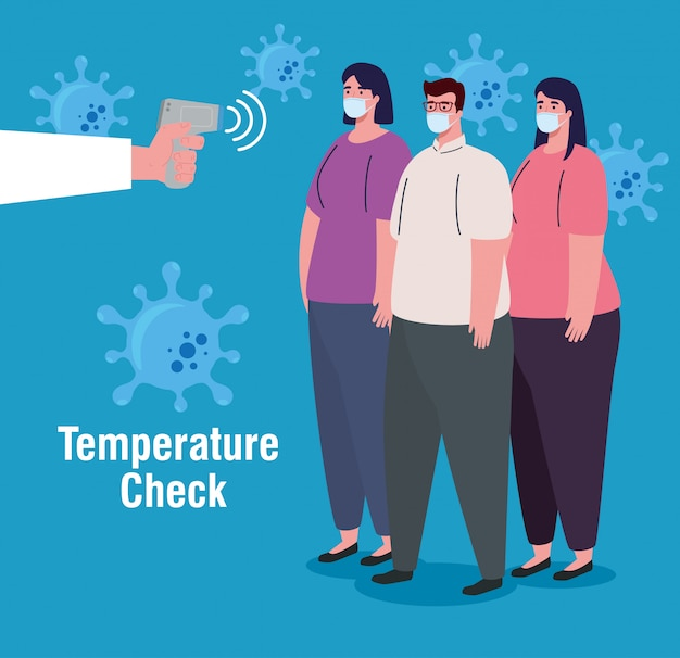 コロナウイルス、体温を測定するための手持ちの赤外線温度計、人々は温度をチェック