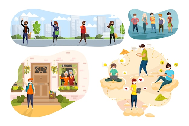 Коронавирус, здравоохранение, доставка, общение, социальные сети, концепция общества. толпа людей в медицинских масках доставляет еду на карантин, болтает в сети онлайн, позируют вместе