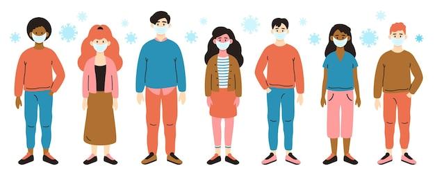 코로나 바이러스 인간 질병. 흰색 의료 얼굴 마스크, 코로나 바이러스 격리 및 유행성 위험 격리 벡터 일러스트 레이 션 세트에있는 사람들