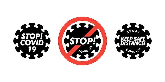 赤い禁止標識が設定されたコロナウイルスアイコン、2019-ncov新規コロナウイルス細菌。感染せず、コロナウイルスの概念を止めます。危険なコロナウイルス細胞。孤立したベクトルアイコン