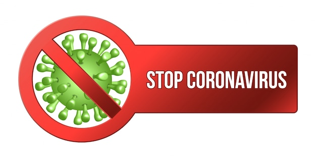 Coronavirus icon with red prohibit sign, 2019-ncov novel coronavirus concept sign