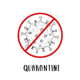 빨간색으로 된 코로나 바이러스 아이콘은 스케치 스타일에서 로그인을 금지합니다. 손으로 그린 코로나 바이러스 박테리아. 코로나 바이러스를 중지하십시오. 코로나 바이러스 위험 및 공중 보건 위험 질병 및 독감 발생.