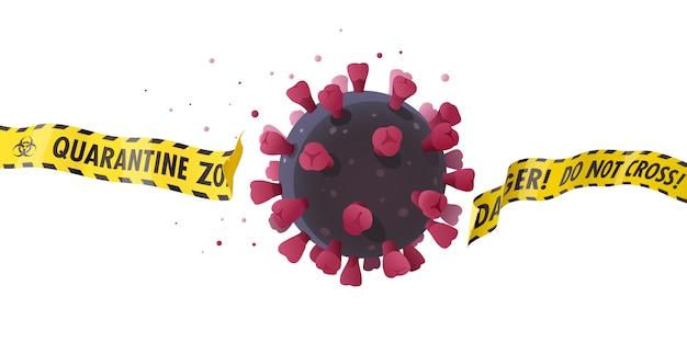 コロナウイルスの影響。概念図。 covid-19ウイルスのとがった球体は、隔離ゾーンのバリアテープを破り、制御不能になろうとします。パンデミックの予防を伴う危険な状況。
