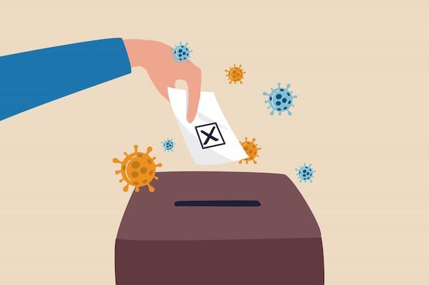 Coronavirus impact presidential election, politician campaign due to pandemic disease concept