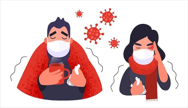 医療用フェイスマスクの不安の男性と女性のコロナウイルス症状ベクトルの中国の人々のコロナウイルス..。